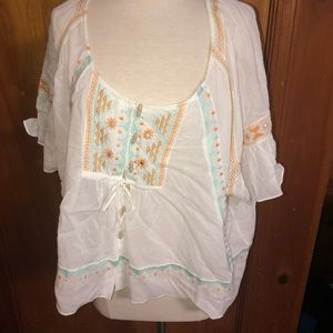 Free people boho swing rayon top blouse Small S